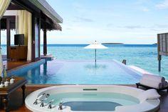 Anantara Kihavah Maldives Villas - pool and spa with ocean view Maldives Villas, Maldives Travel, Wonderful Places, Beautiful Places, Villa Pool, Pool Water Features, Infinity Edge Pool, Flight And Hotel, Resort Spa
