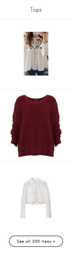"""""""Tops"""" by floriane97 ❤ liked on Polyvore featuring tops, sweaters, jumper, shirts, burgundy, acrylic sweater, acrylic shirt, jumper shirt, red sweater and chunky knit sweater"""