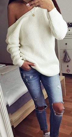 #fall #outfits / off the shoulder knit