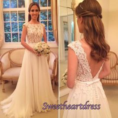 Lace prom dress, ball gown, beautiful ivory lace chiffon prom dress for teens