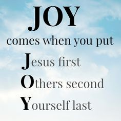 A simple reminder for finding joy | I love this simple acronym that calls to mind the Greatest Commandment which the blogger elaborates on in the link.