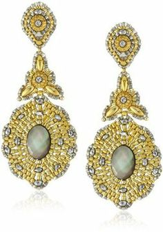 Miguel Ases Long Golden Drop with Mother-Of-Pearl Center Earrings on shopstyle.com