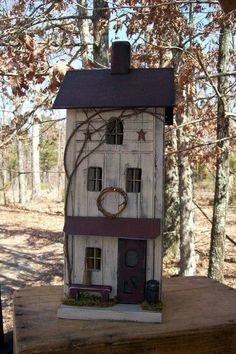 Primitive Lighted Tall Skinny Farmhouse w/ porch Folk Art  taupe w/ rusty black accents ~ Comes w/ light and cord ~ Birdhouse ~  Very unique