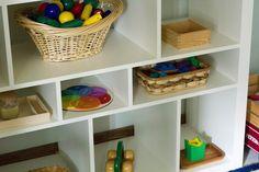 The Kavanaugh Report: Mixed Age Montessori Play Shelves Toy Storage Shelves, Cube Shelves, Montessori, Kids Playing, Playroom, Homeschool, Nursery, Organization, Toys