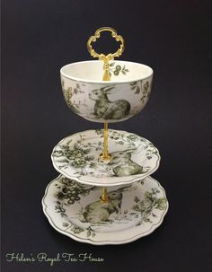 3 Tier Cake Stand Green Toile Bunny Tier by HelensRoyalTeaHouse