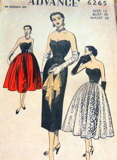 Advance 6265 Dress & Overskirt 1952 Sz12/30/25/33 FF 22.59+1.99 5bds 1/2/15