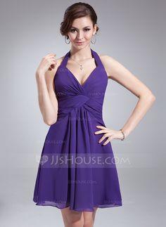 A-Line/Princess Halter Short/Mini Chiffon Bridesmaid Dress With Ruffle (007018653)