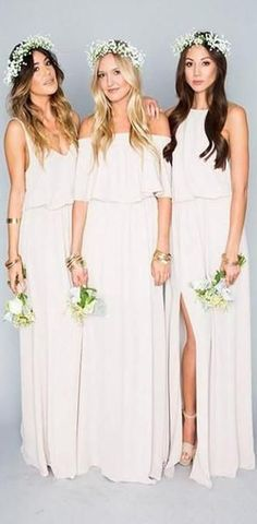 c892c5d0b6b 2019 Chiffon Cheap Long Pretty Young Mismatched Side Split Bridesmaid  Dresses