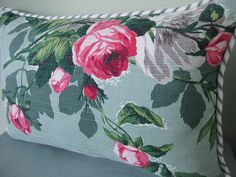 Shabby Pink Roses on Jadeite Green Barkcloth Pillow cover