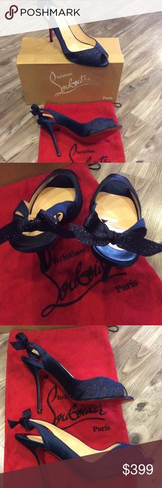 Louboutin size 40 navy heels with dust/box Pretty sparkle front with dainty bows on the back Christian Louboutin Shoes
