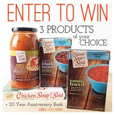 Chicken Soup for the Soul giveaway : Celebrate National Soup month and enter to win your choice of 3 Chicken Soup for the Soul new food products and one copy of the Chicken Soup for the Soul 20th Anniversary book. Giveaway ends Monday 1/27/ 2014 at 11:59PM EST. Two winners will be chosen. Good luck! #giveaway