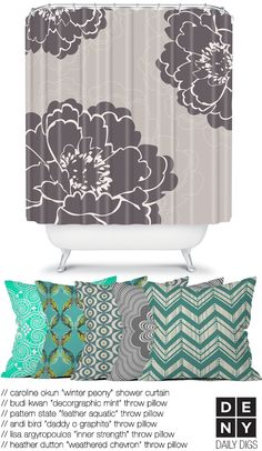 idea for shower curtain in English Cottage Beach Cottage Decor, Coastal Decor, Living Room Redo, Chevron Throw Pillows, Cottage Interiors, Beach Cottages, Cushion Covers, Home Goods, House Design