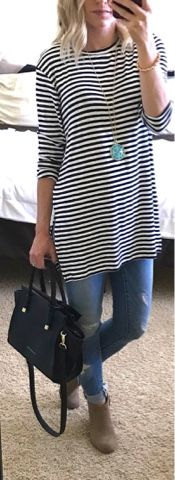 I just couldn't help myself and I bought another piece of clothing in black and white stripes. Back in September, while doing some fal...