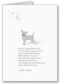 Little Dog in Heaven - Dog Sympathy Card for Male Dog