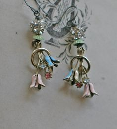 French Bouquet  assemblage earrings   crownedbygrace.etsy.com