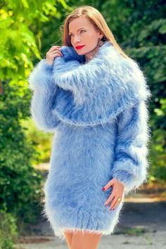 Light blue hand knitted soft & fuzzy mohair cowl neck sweater dress by SuperTanya ®. Fluffy Sweater, Mohair Sweater, Cowl Neck Sweater Dress, Knit Dress, Casual Skirt Outfits, Sweater Outfits, Petite Winter Dresses, Petite Dresses, Gros Pull Mohair
