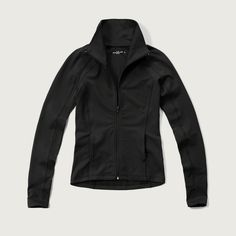 Abercrombie & Fitch Athletic Zip Jacket ($48) ❤ liked on Polyvore featuring navy and abercrombie & fitch