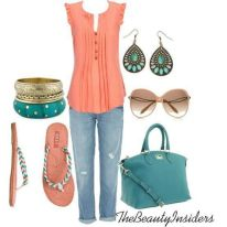 light and cute spring outfit - need to flip colors turquoise top instead, or maybe navy