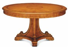 "San Marino Dining Table 180 No: 528-855-03  70-7/8""Dia x 30-1/8""H  Hand-carved pedestal dining table in white cedar solids with yew and cedar veneers, and maple and ebonized inlays.  Available in 02 Frutal, and 36 Delawere (Walnut) finishes.  Also available as San Marino Expanding Dining Table 180 No: 528-856-03 98-1/2""W x 70-7/8""D x 30-1/8""H when expanded"