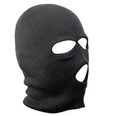 chinkyboo 3 Hole Black Balaclava Mask Warm Winter SAS Style Army Ski Hat Neck Warmer