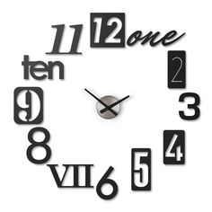 The Numbra wall clock from Umbra turns your blank wall space into an oversized timepiece. With metal-stamp numbers inspired by exterior house numbers, and in sizes up to nine inches in height, the Numbra allows you to create a wall clock customized to your desired scale.  See the video.