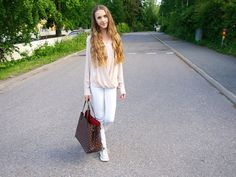 White denim with a loose top