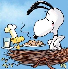 Snoopy and Woodstock Food Cartoon, Peanuts Cartoon, Peanuts Snoopy, Funny Cartoons, Funny Cats, Funny Humor, Cats Humor, Funny Food, Food Humor
