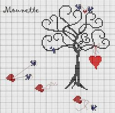 Valentine Tree x stitch Cross Stitch Tree, Cross Stitch Boards, Cross Stitch Needles, Cross Stitch Heart, Cross Stitching, Cross Stitch Embroidery, Embroidery Patterns, Canvas Template, Cross Stitch Designs
