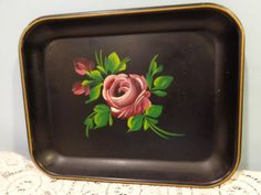 Vtg Tole Rose Tray Platter Black Floral Rectangular Toleware 13X10 Hand Painted #Unknown