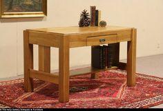 Arts & Crafts Mission Oak 1905 Antique Library Table Writing Desk, Signed Joerns