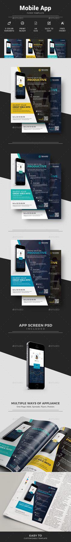 Mobile App Flyer - App Promotion + Mobile App  Magazine Ad Template | Download http://graphicriver.net/item/mobile-app-flyer/15226867?ref=themedevisers