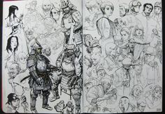 The 2013 sketchbook is the third and the latest sketchbook produced by Kim Jung Gi.  The book is packed with amazing sketches, mainly character art. Most are line art, a few paintings. There are also many point of view sketches and concept art throughout the book. Most of sketches are drawn with amazing perspective distortion.