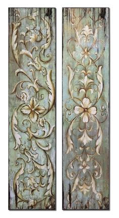 Uttermost Set of 2 Climbing Vines And Floral Wall Art - Wood Panel Walls, Panel Wall Art, Wood Paneling, Paneling Painted, Climbing Vines, Floral Wall Art, Painted Furniture, Painted Wood, Diy Furniture