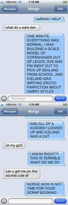Text conversation between Norway and Denmark, this is hilarious XD