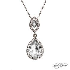 LuckyClover Jewelry - Viziare Crystal Double Drop Pendant MADE WITH SWAROVSKI ELEMENTS, $91.00   Matching necklace for the earrings? Matching Necklaces, Swarovski Crystals, Jewelery, Aqua, Drop, Pendant Necklace, Sterling Silver, Earrings, Formal