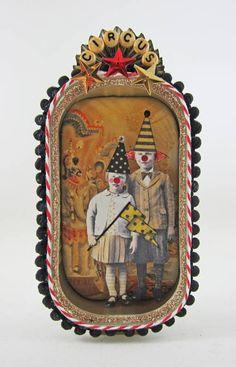 Billy and Tess at the Circus: altered sardine tin (KBatsel) Circus Crafts, Circus Art, Circus Theme, The Circus, Circus Activities, Circus Train, Altered Tins, Handmade Headbands, Collage