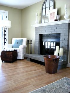 s 10 gorgeous ways to transform a brick fireplace without replacing it, concrete masonry, fireplaces mantels, The fix Paint it all one color Home And Living, Home Remodeling, Home, Fireplace, Painted Brick, Painted Brick Fireplaces, Grey Fireplace, Home Decor, Room