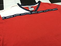 Vintage Tommy hilfiger jeans t shirt color block striped spell out Size L Good condition by AlivevintageShop on Etsy