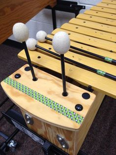 Washi tape to color code mallets with Orff instruments. Also helps students know where to put their fingers on the mallets!