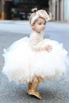 Cute Ball-Gown Scoop Neck Toddler Flower Girl Dress with Long Sleeves Flower Girl Dresses BallGown Cute Dress Flower flowergir Girl long Neck Scoop Sleeves toddler Toddler Flower Girl Dresses, Ivory Flower Girl Dresses, Flower Girl Tutu, Ivory Dresses, Ball Dresses, Toddler Dress, Ball Gowns, Girls Dresses, Pageant Dresses