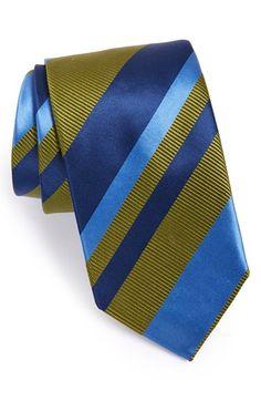 David Donahue Stripe Silk & Cotton Tie | Nordstrom