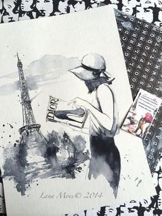 Dior Watercolor  Print Paris Illustration  Cityscape  by LanasArt on etsy - Lana Moes Fashion Illustration