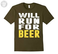Mens Will Run For Beer Shirt - Funny Running T-Shirt Large Olive - Funny shirts (*Amazon Partner-Link)