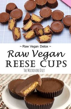 Here's a raw vegan twist on a chocolate favorite! Since this recipe contains refined sugar and oil, we suggest having these delicious peanut butter chocolate cups as a special dessert or treat once in a while! For super healthy and detoxifying raw vegan recipes, check out our Fruit. Fat. Forage. Recipe Book! For recipe and instructions click the pin!
