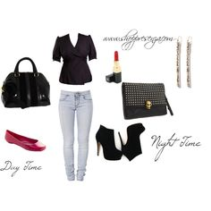 Presenza From Day To Night, created by shoppresenza on Polyvore    Carry a pair of heels, some glamorous earrings and a clutch in your daytime bag for a quick change at the office! Take your look from day time to night time with only a few additional accessories!    #fashion #style