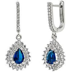 Wunderschöne Silberohrringe - Creolen / Ohrhänger mit großem Zirkonia in Blau und kleinen farblosen Zirkonias