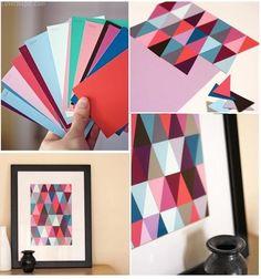 DIY Mosaic Paint Chip Wall