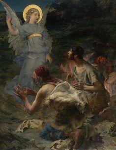 天使の絵画bot(@art_of_angel)さん | Twitter  ジュール・バスティアン=ルパージュ 『羊飼いへの告知』(1875)