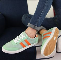 Mens #green casual lace up #sneakers sport shoes stripe pattern, canvas upper and lining.