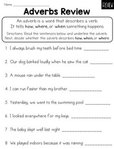 Adverbs (How, When, Where) Worksheet Common Core by LearnersoftheWorld